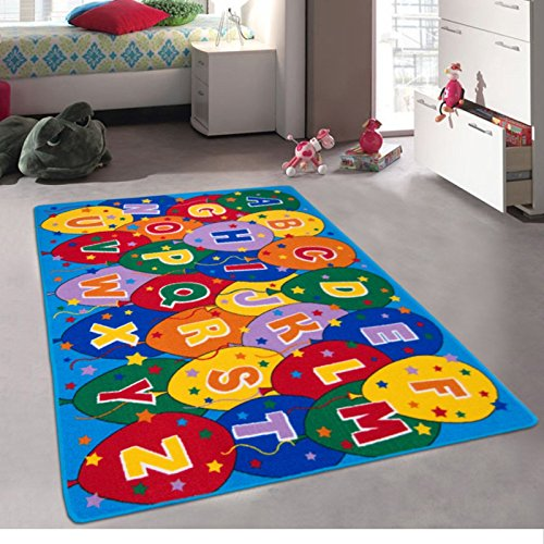 Kids / Baby Room / Daycare / Classroom / Playroom Area Rug. Alphabet. Balloons. Educational. Fun. Non-Slip Gel Back. Bright Colorful Vibrant Colors (8 Feet X 10 Feet) by iSavings