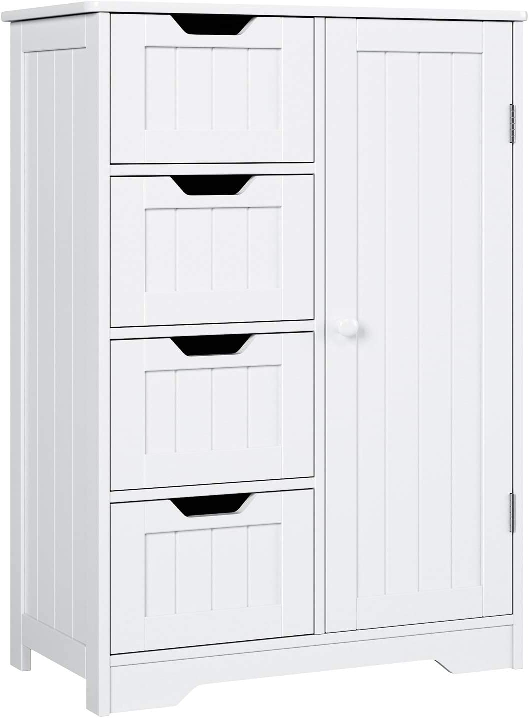 Homfa Armario Mueble Almacenaje Organizador para baño Cocina salón y Dormitorio 4 Cajones y 1 Puerta 56x30x83cm Blanco
