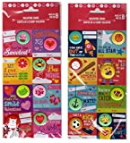 16 Valentine's Day Cards for Boys and Girls with Cute Pinback Buttons Bundle of 2 8 packs