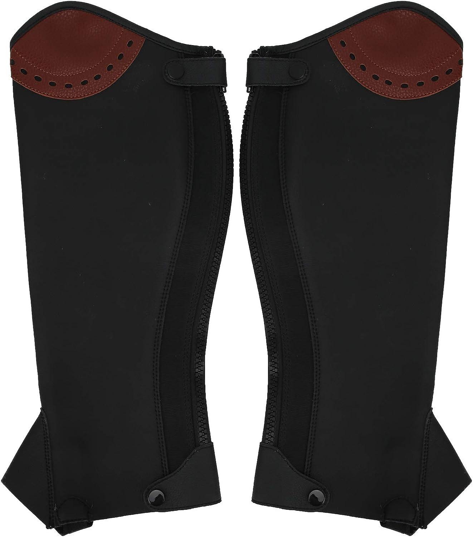 2PCS Half Chaps Leggings ecuestres de Cuero Protectores de piernas ecuestres para Adultos para Montar Saltos de Resistencia