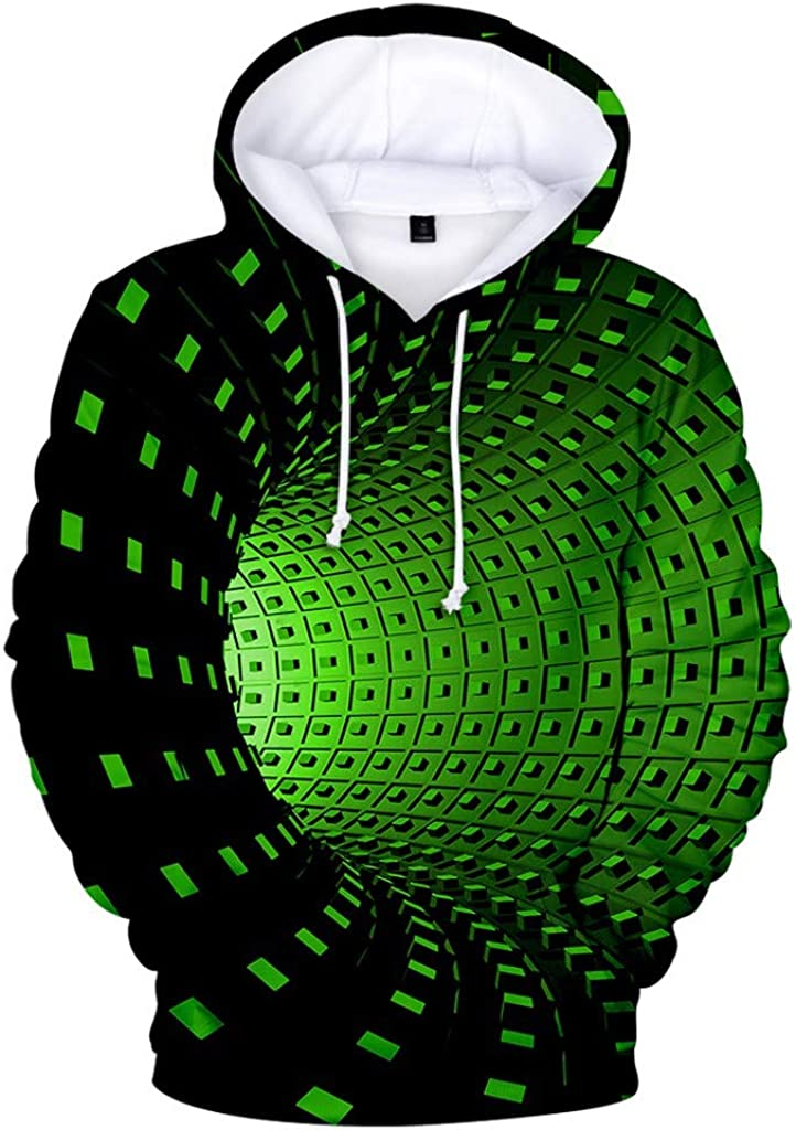 Kiyotoo 3D Graphic Printed Hooded Sweatshirt for Mens Womens Funny Long Sleeves Pullover Jumpers Casual All Over Printed Top