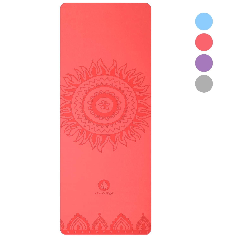 Homfa Esterilla de Yoga Esterilla de Gimnasia de Caucho Natural Yoga Mat Antideslizante 2-in-1 de Tapete y Toalla Double Capa 4.2mm de Grosor 185 x 67.4cm product image