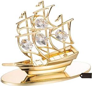 Matashi 24K Gold Plated Mayflower Marine Style Decor Sailing Ship Boat Model Ornament Figurine Tabletop - Nautical Home Desktop Decoration, Christmas Boat Decoration, Travel Souvenir Great Gift