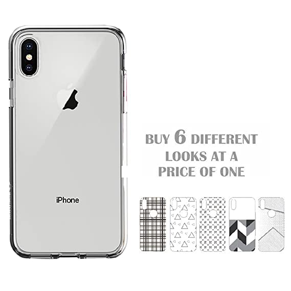 online retailer 65e80 a9043 Stuffcool Arc Fab Transparent Soft Back Case Cover - Clear (Unique 1+5  Different Look - with Changeable Back Films)