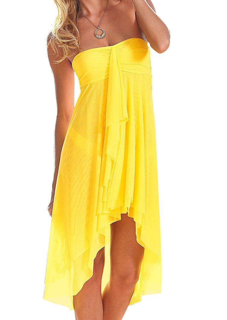 Upopby Women's Mesh Swimsuit Cover up Bikini Sarong Strapless Dress Midi Skirt Beach Coverup Dress Yellow S