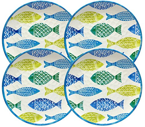 Cynthia Rowley 'Tropical Fish' 4-Piece 11 inch Melamine Dinner Plates for Indoor / Outdoor Dining Set
