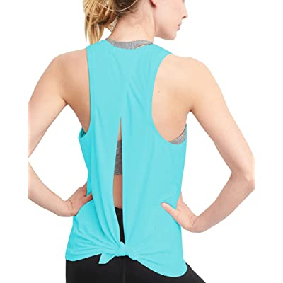 Mippo Workout Clothes for Women Cute Tie Back Yoga Tops Muscle Shirts Racerback Tank Top at Women's Clothing store