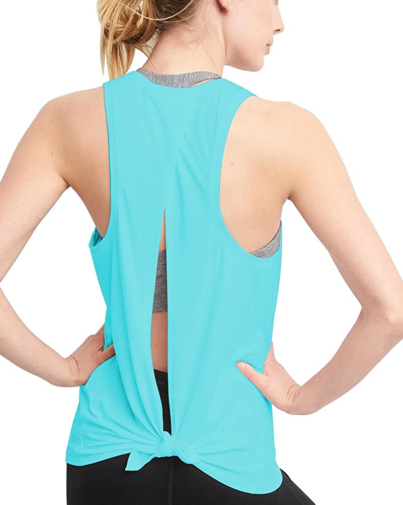 3ff135bbc9adde Mippo Women s Sexy Open Back Yoga Shirts Tie Back Workout Clothes Racerback  Tank Tops at Amazon Women s Clothing store