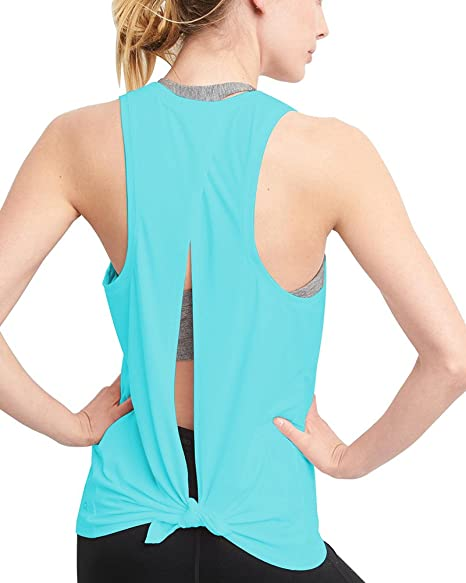 Mippo Womens Workout Tops Sexy Open Back Yoga Shirts Tie Back Athletic Gym Tank Tops