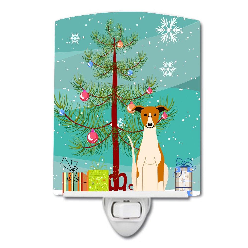 Carolines Treasures Merry Christmas Tree Whippet Ceramic Night Light 6x4 Multicolor