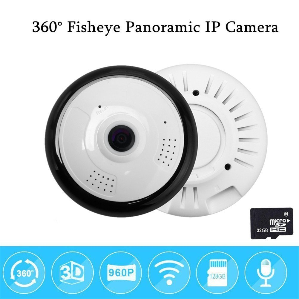 360¡ãIndoor Security WiFi Night Vision Panoramic Fish eye 960P IP Camera With 32G Memory Card by UGI