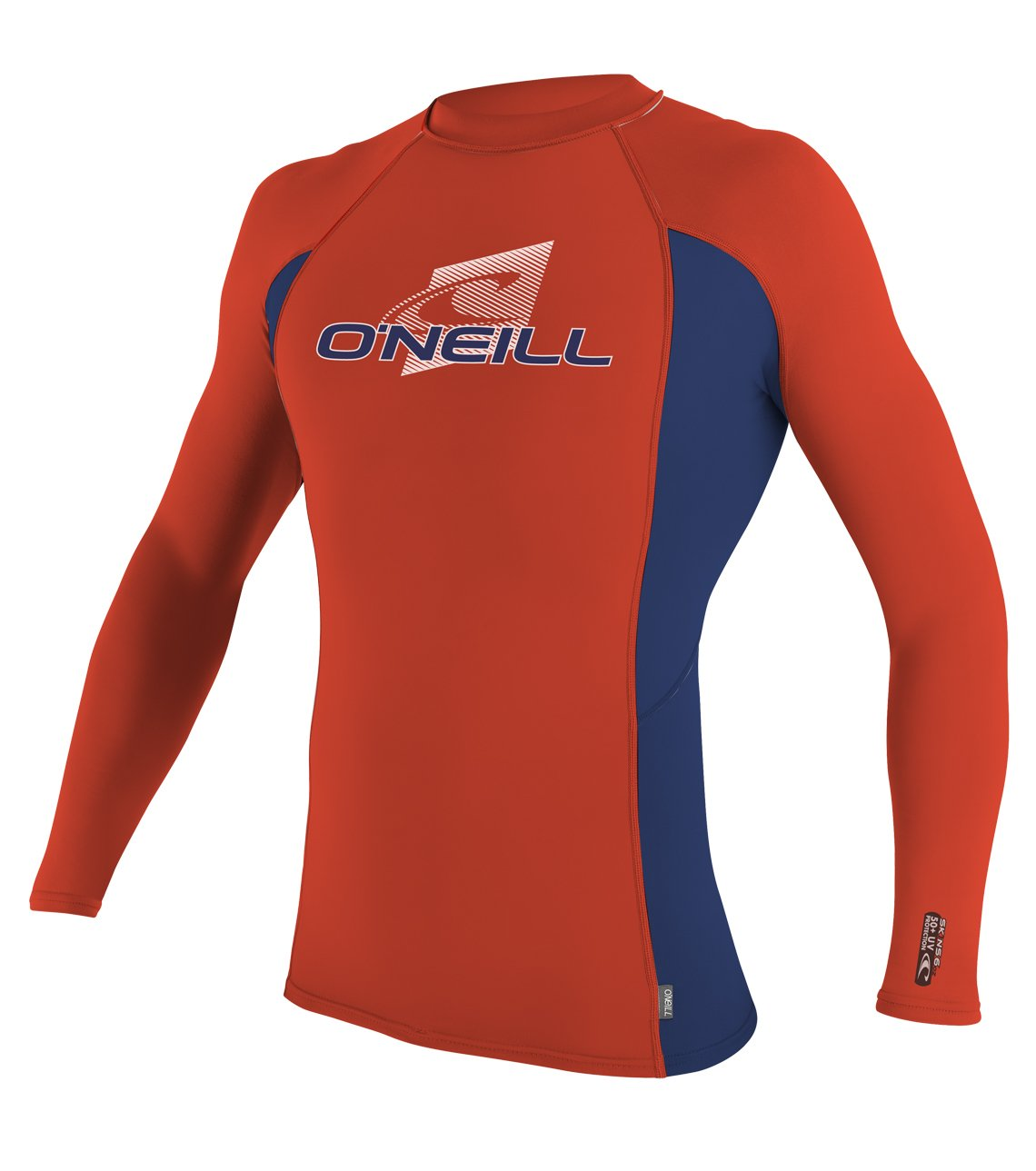 O'Neill Youth Premium Skins UPF 50+ Long Sleeve Rash Guard, Neon Red/Navy/Neon Red, 8