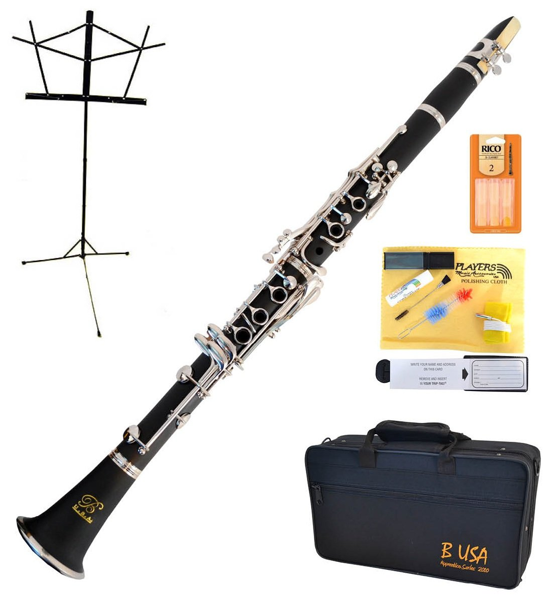 Bridgecraft WCL-GBK1 Apprentice Series Bb Clarinet Package Simulated Wood Grain Finish with Care Kit, Stand and Deluxe Case, Grain Black