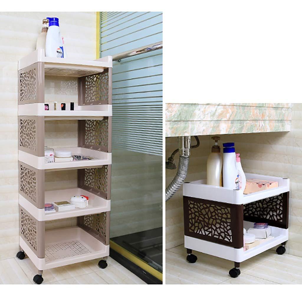 Cocina Home Office Garaje Ba/ño estantes de Almacenamiento Multi-Capa de pl/ástico Canasta de Almacenamiento ZWJLIZI Cesta de Rodadura Color : A, Size : 36x30x34cm la Compra con Ruedas