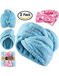 Microfiber Hair Towel Wraps - Ultra Absorbent, Anti Frizz & Quick Hair Drying + Fluffy Headband - 2Pack Premium Towels for Women & Kids/Girls with Curly or Long Hair