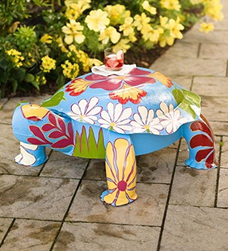 Folk Art Turtle Table in Colorful Painted Metal 35 L x 24 W x 13.50 H