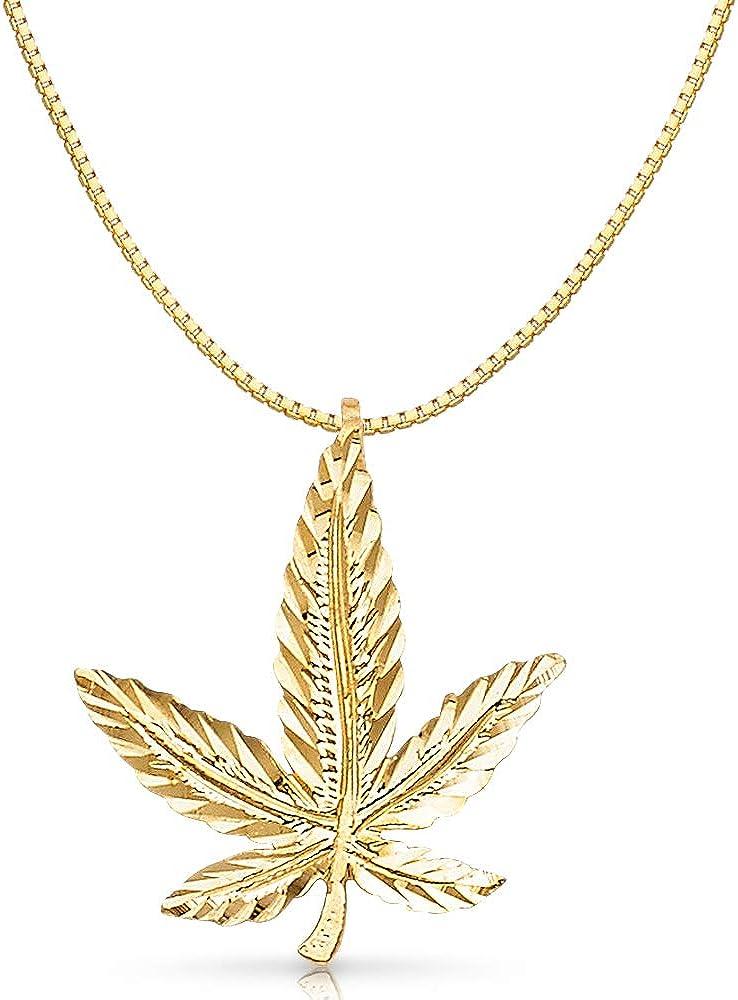 14K Yellow Gold Marijuana Leaf Charm Pendant with 0.8mm Box Chain Necklace