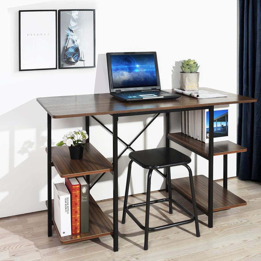 GreenForest Computer Desk with Shelves 47 Inch Large Desktop Home Office Desk Workstation, Walnut by GreenForest (Image #2)