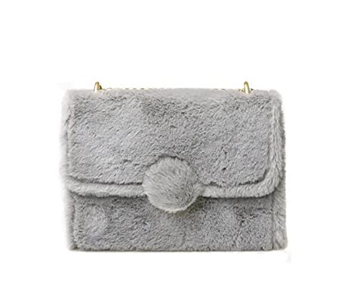 2272311ff35b Women Soft Faux Fur Bag Clutch Bag Crossbody Purse Shoulder Bag with Chain  Strap (Grey