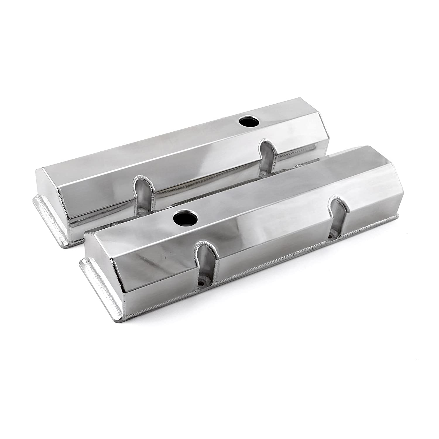 Chevy SBC 350 Polished Fabricated Valve Covers Tall w//Hole
