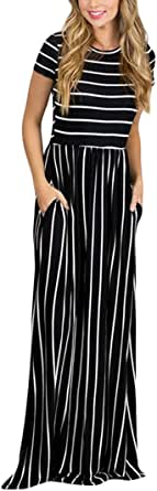 HOTAPEI Women's Summer Casual Loose Striped Maxi Dress Short Sleeve Dress with Pocket
