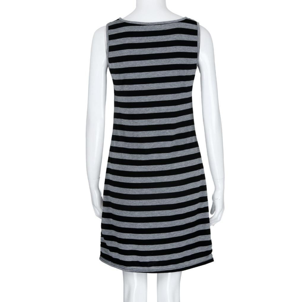 WensLTD Fashion Womens Pregnants O-Neck Stripe Short Sleeve Nursing Maternity Dress