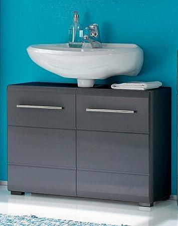 Waschtisch-Kommode CHROME Waschbeckenunterschrank 2-trg. grau ...