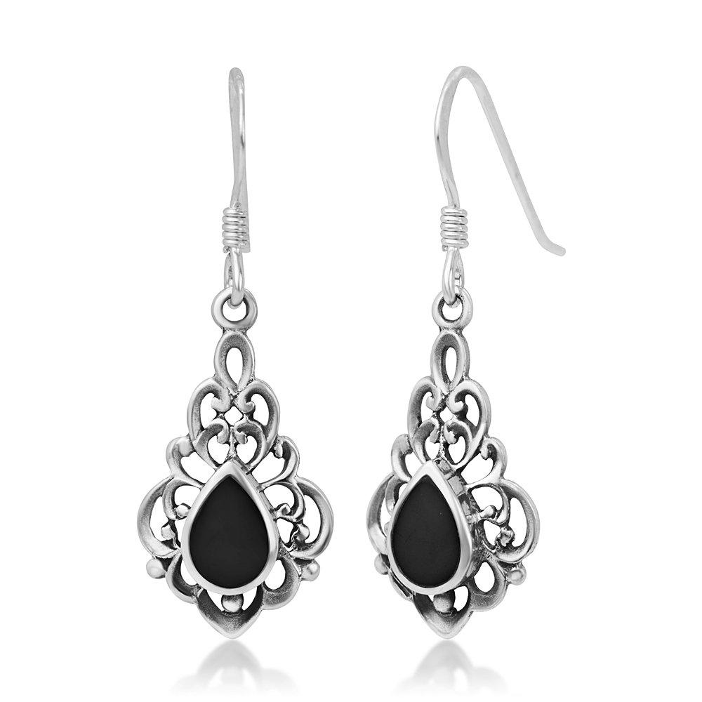 925 Sterling Silver Bali Inspired Vintage Black Onyx Gemstone Filigree Dangle Hook Earrings
