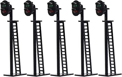 5 pcs HO Scale 6cm Railroad Signals Green over Red 12V LEDs Made Block Signal