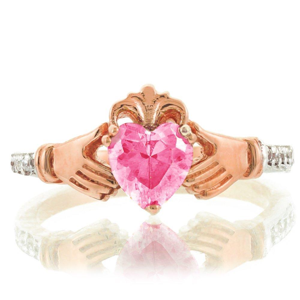 Amazon.com: 14k Rose Gold October Birthstone CZ Heart Claddagh Ring ...