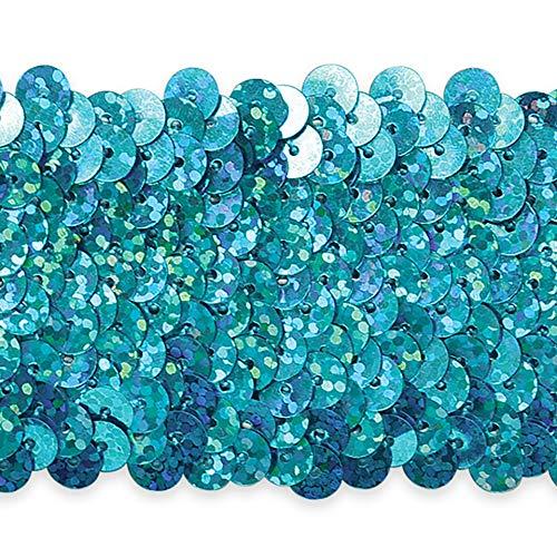 5 Row 1 3/4in Starlight Hologram Stretch Sequin Trim Aqua Blue (Precut 10 Yard) by Expo International Inc.