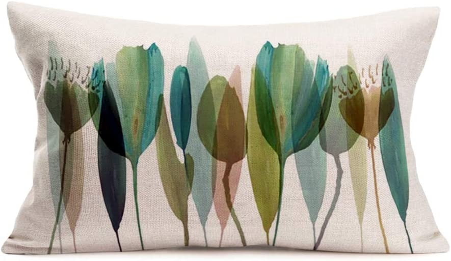 Easternproject Watercolor Flower Throw Pillow Covers Vibrant Tulip Bouquet Cotton Linen Pillow Cases Cushion Cover Spring Sign Home Decor 12x20 Inch Rectangular Pillowslip for Sofa Couch