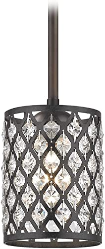 Crystal Bronze Phoenix Stem Hung Mini-Pendant Light