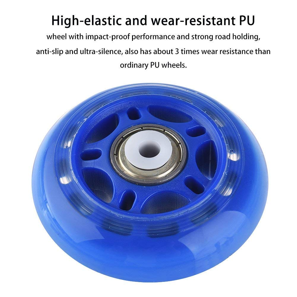 KINPAR 70MM Rollerblade Skates Light up Replacement Wheel Replacement Wheels for Razor Scooter Kick Scooter and Micro Mini Scooter Pack of 4