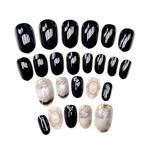 Buleerouy - Juego de 24 uñas postizas de mármol para uñas ...
