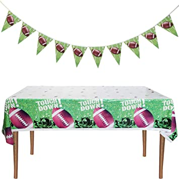 Amazon Com Matttime Football Party Banner And Tablecloth