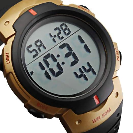 CFGem Digital Deporte Impermeable Reloj de Hombre con PU Banda de Plástico SKM-1688 Oro: Amazon.es: Relojes