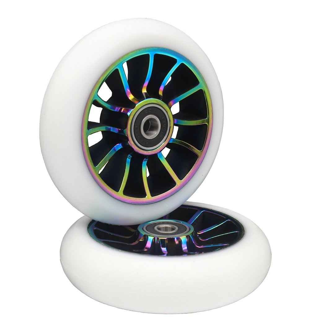 aibiku Pro Stunt Scooter Wheel 100mm Replacement Wheels with ABEC-9 Bearing-2 PCS(A-Colorful/White)