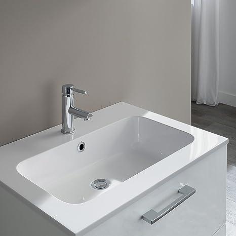 Mobile bagno Nettuno Bianco Lucido da 70 cm con lavabo in ...