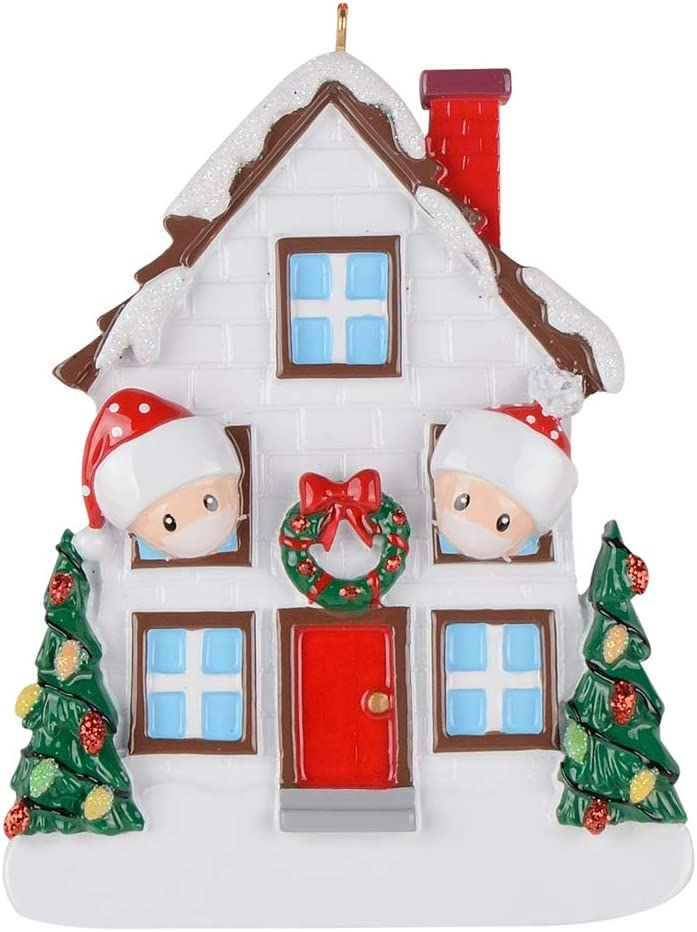 2020 The Year We Quarantined at Home Christmas House Family of 2 Personalized Ornaments Valentines Days Gifts