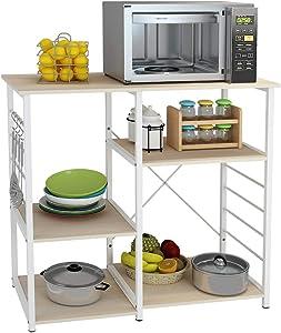 SDHYL Microwave Oven Rack Storage Shelf Kitchen Baker's Rack Storage Cart for Kitchen, Millennium Oak, S7-WK-171-MO-US