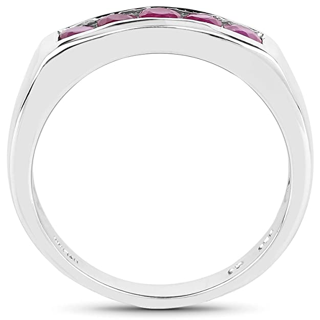 Wedding Engagement Band 0.65 Ct Genuine Ruby 925 Sterling Silver Channel Ring