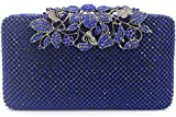 Womens Evening Bag with Flower Closure Rhinestone Crystal Clutch Purse Blue
