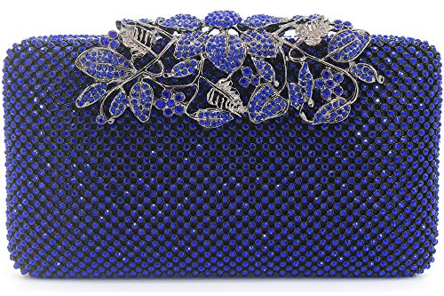 Womens Evening Bag with Flower Closure Rhinestone Crystal Clutch Purse Blue