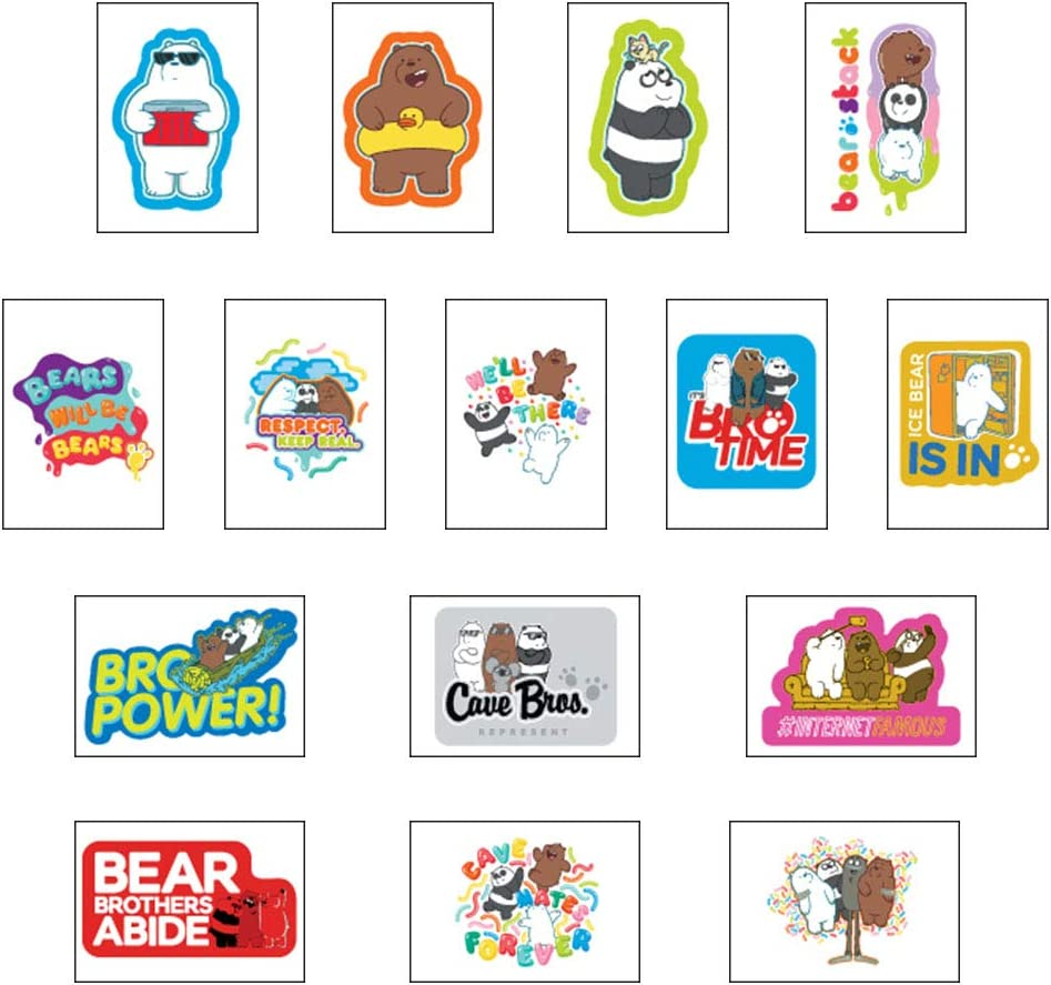 We Bare Bears Stickers Full Set of 15 Vending Sticker Sheets Featuring Grizzly Panda and Ice Bear