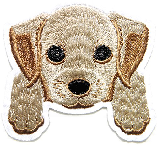 Dog Puppy Patch Iron on Sew Embroidered Applique Craft Art DIY Decorate Handmade Clothing Jacket Vest T shirt Backpack Accessories Collection Costume Gift (Golden Retriever (2.5