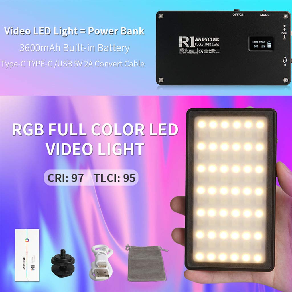 NXDA RGB Camera//Camcorder Video Light Portable Dimmable 2500K-7000K Pocket On Camera Light Rechargeable Pocket Size Video Light with 7 Common Scenario Simulations