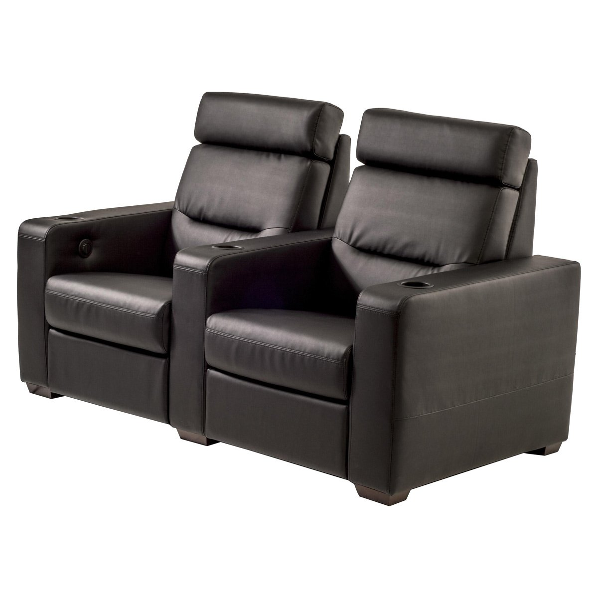 Salamander TC3 AV Basics 2-Seat Straight Motorized Recliner Home Theater Seating (Black Bonded Leather)
