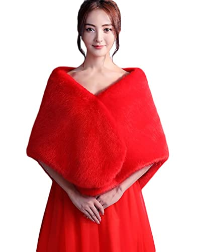 SK Studio Mujer Estola de Pelo Chale Rojo Bolero Invierno Capa para Fiesta Bodas Novia