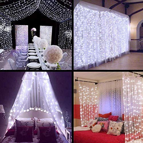 MZD8391 Curtain String Lights, 9.8 X 9.8ft 304 LED Starry Fairy Lights for Wedding, Bedroom, Bed Canopy, Garden, Patio, Outdoor Indoor (White curtain light) -